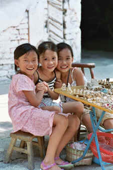 Chinese Girls at Market