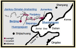 Great Wall Trekking Tour Map