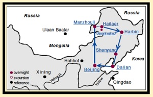 China Tour Map within Manchuria