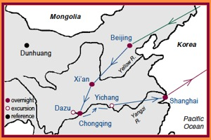 Access China Tours Map of Feng Shui China Tour with stops in Beijing, Xian, Dazu, Chongging, Yichang and Shanghai