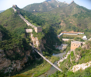 Great Wall of China going across a river