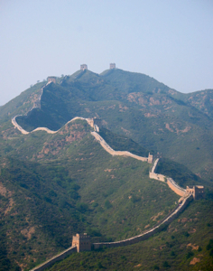 Great Wall of China zigzagging on the hills