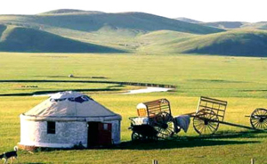 yurt in the grassy plains, China