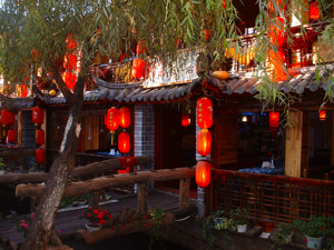Lijiang, China hanging red lanterns