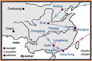 Access China Tours China Shan Shui Tour Map with stops in Beijing, Xian, Shanghai, Guilin and Hong Kong