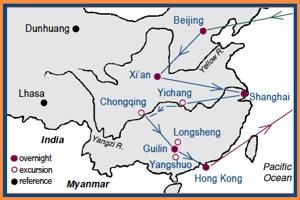 Access China Tours China Shan Shui Tour Map with stops in Beijing, Xian, Shanghai, Guilin and Hong Kong