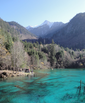Turquoise colored lake in Sichuan, China