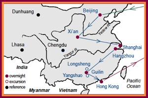 Access China Tours Tang Map of Beijing, Xian, Shanghai, Hangzhou, Longsheng, Yangshuo and Hong Kong