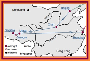 Access China Tours Tibet Tour Map with stops in Lhasa, Shigatse, Gyangze and Shanghai