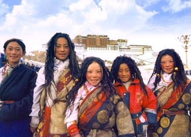 Tibetan Children in front of Potala Palace, Lhasa