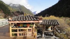 Tibetan Water Wheel on river