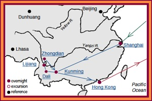 Access China Tours, Yunnan China Tour Map with stops in Shanghai, Kunming, Zhongdian, Lijiang, Dali and Hong Kong