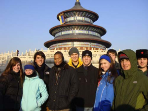 Students in Beijing at Temple of Heaven