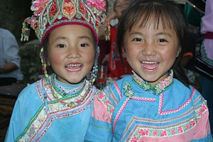 Hani children smiling, Yunnan China