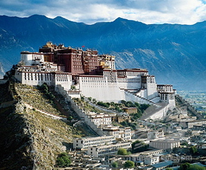 Potala Palace on the hill with the sun shining on it