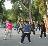 doing tai chi in the morning