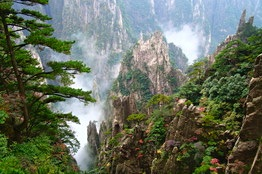 China Mountains shrouded in mist